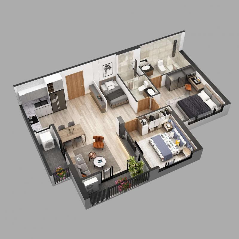 Căn hộ chung cư Sky Oasis Ecopark - 2PN+1 76m2