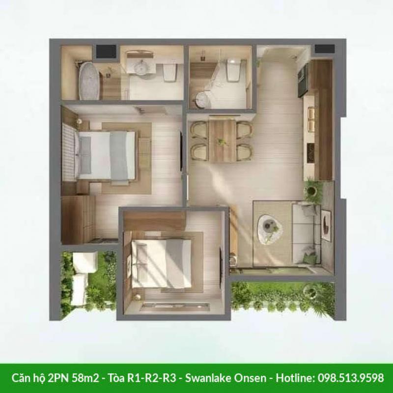 Căn hộ 2 phòng ngủ 58m2 Swanlake Onsen - Tòa R1-R2-R3
