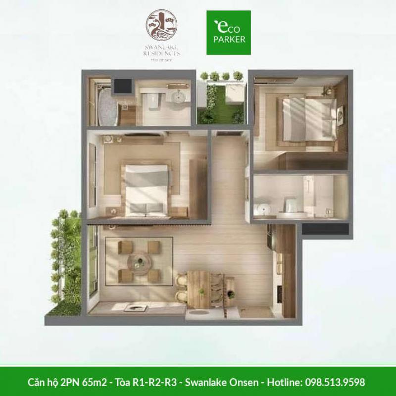 Căn hộ 2 phòng ngủ 65m2 Swanlake Onsen - Tòa R1-R2-R3