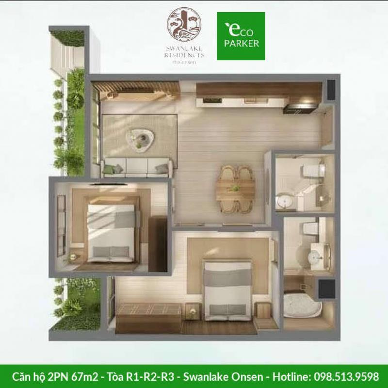 Căn hộ 2 phòng ngủ 67m2 Swanlake Onsen - Tòa R1-R2-R3