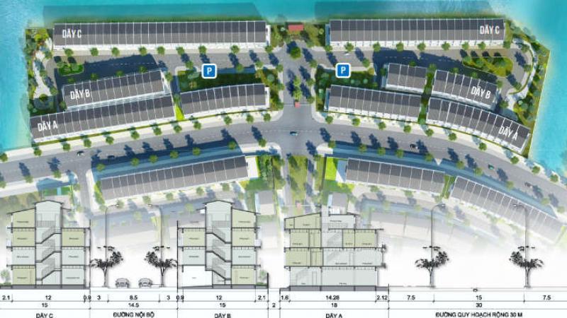 Mặt bằng phân khu 2B nhà phố liền kề Park River Ecopark