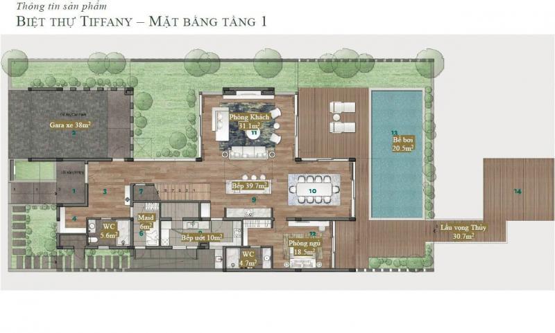 Biệt thự đảo Ecopark Grand - Tiffany - Mặt bằng tầng 1