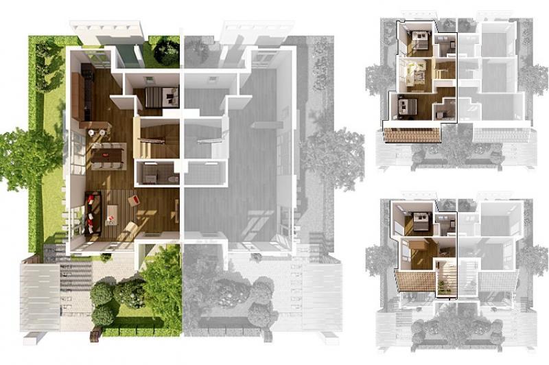 Mặt bằng biệt thự song lập Vườn Mai Ecopark