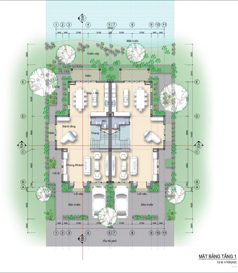 Mặt bằng biệt thự song lập Làng Hà Lan Ecopark - Tầng 1