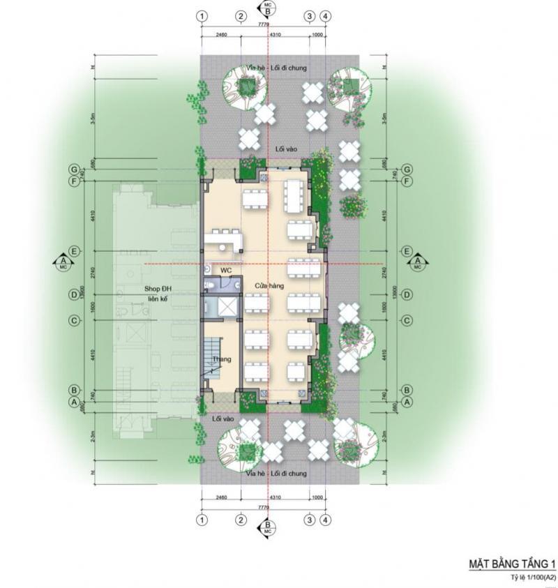 Mặt bằng nhà phố 3 mặt tiền căn góc Làng Hà Lan Ecopark - Tầng 1