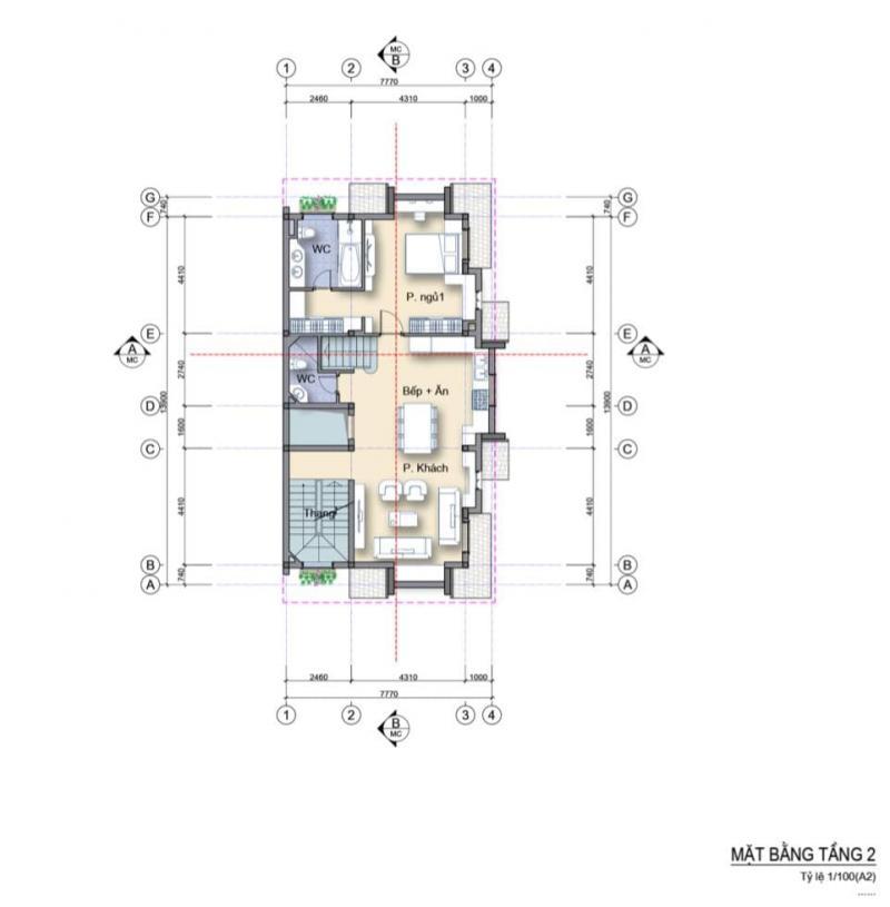 Mặt bằng nhà phố 3 mặt tiền căn góc Làng Hà Lan Ecopark - Tầng 2