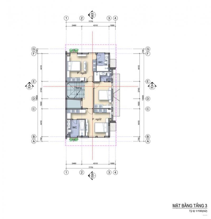 Mặt bằng nhà phố 3 mặt tiền căn góc Làng Hà Lan Ecopark - Tầng 3
