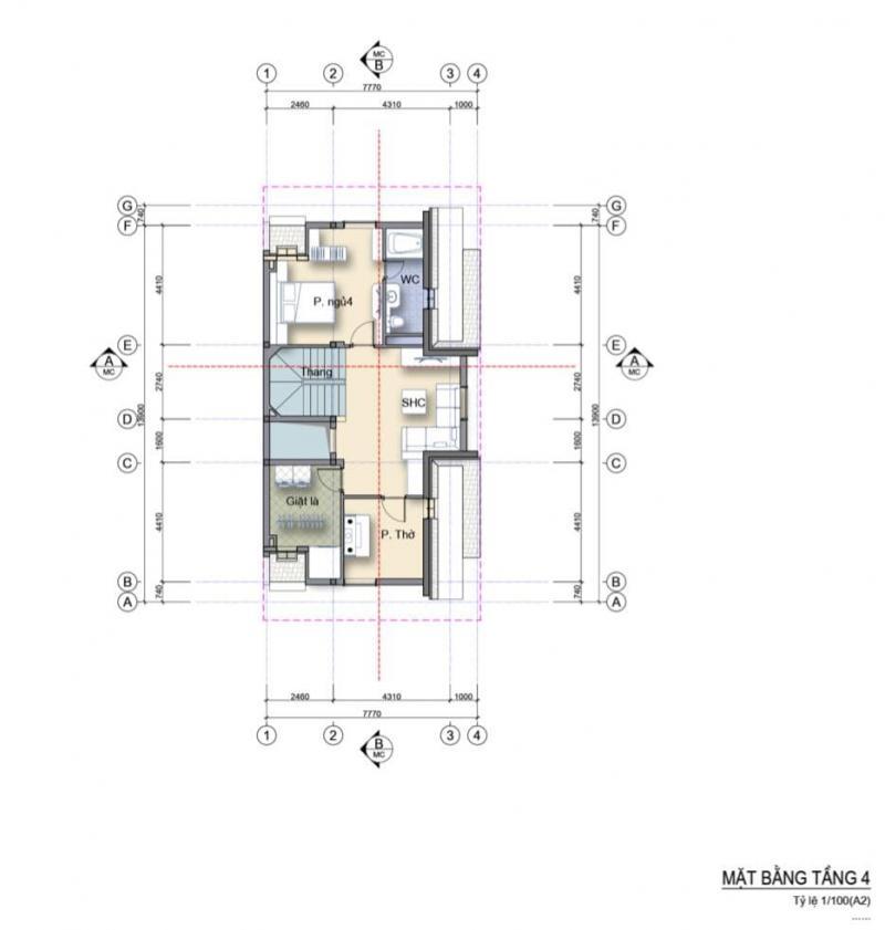Mặt bằng nhà phố 3 mặt tiền căn góc Làng Hà Lan Ecopark - Tầng 4